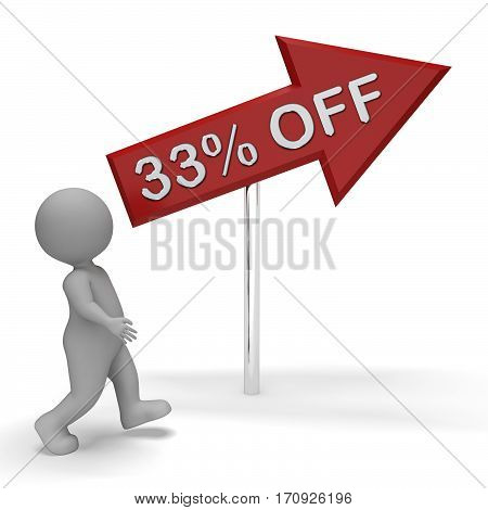 Thirty Three Percent Off Sign Means 33% Discount 3D Rendering