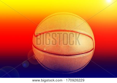 Close up of basketball on black background