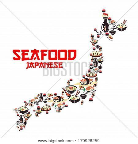 Map of Japan with asian cuisine seafood dishes. Japanese cuisine sushi roll and nigiri, seafood soup and rice with shrimp, salmon, tuna and caviar, soy sauce, sake. Japanese and asian cuisine design