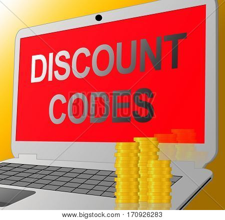 Discount Codes Shows Promo Or Voucher Code 3D Illustration