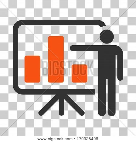 Bar Chart Presentation icon. Vector illustration style is flat iconic bicolor symbol orange and gray colors transparent background. Designed for web and software interfaces.