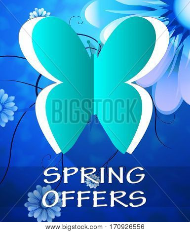 Spring Offers Butterfly Shows Bargains Offers 3D Illustration