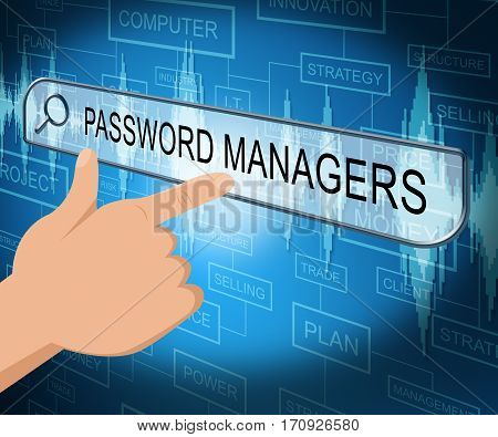 Password Managers Shows Security Program 3D Illustration