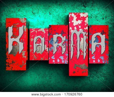 Karma Word Means Faith And Luck 3D Illustration