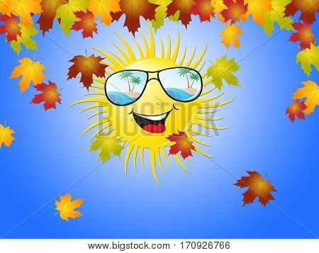 Sunny Afternoon In Autumn Showing Leaves Falling