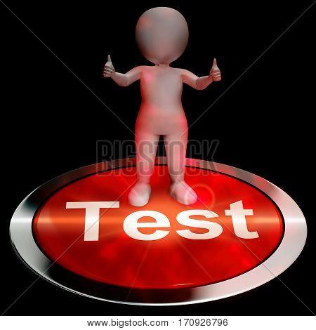 Test Button Showing Quiz Online 3D Rendering
