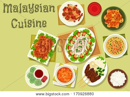 Malaysian cuisine dinner icon of ginger chicken with rice and vegetables, shrimp noodle soup, chicken chilli curry, grilled meat on sticks, papaya shrimp soup, rice coconut dessert with sugar syrup