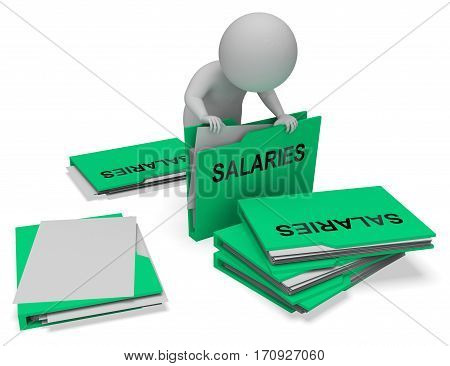 Salaries Folders Represents Income Pay 3D Rendering