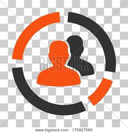 Demography Diagram icon. Vector illustration style is flat iconic bicolor symbol orange and gray colors transparent background. Designed for web and software interfaces.