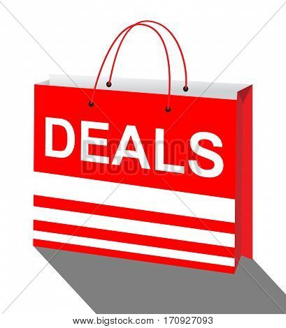 Deals Bag Represents Bargains Discounts 3D Illustration