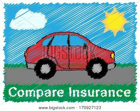 Compare Insurance Means Car Policy 3D Illustration