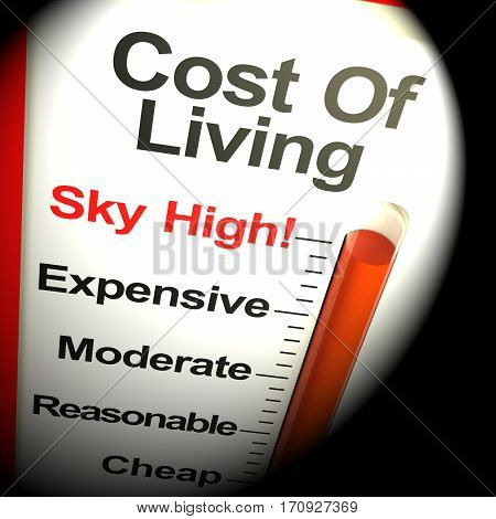 Cost Of Living Expenses Sky High Monitor 3D Rendering