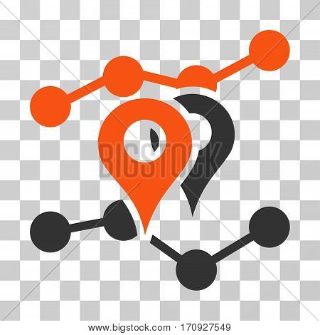 Geo Trends icon. Vector illustration style is flat iconic bicolor symbol orange and gray colors transparent background. Designed for web and software interfaces.