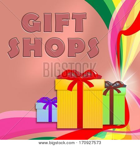 Gift Shops Shows Store For Birthday Presents 3D Illustration