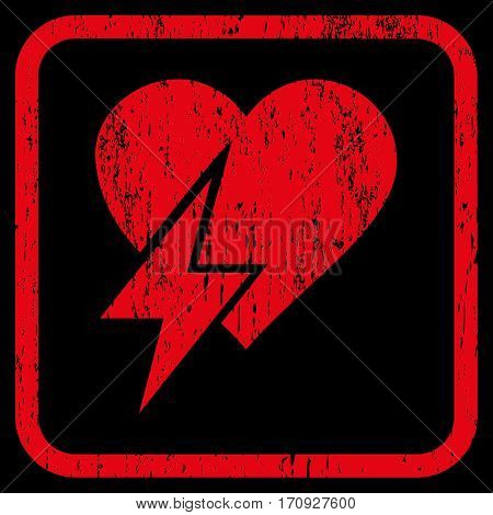 Heart Shock rubber watermark. Vector pictogram symbol inside rounded rectangular frame with grunge design and dirty texture. Stamp seal illustration. Unclean red ink sticker on a black background.