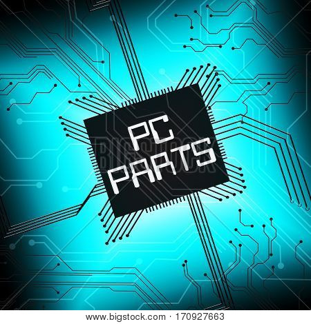 Pc Parts Shows Computer Components 3D Illustration