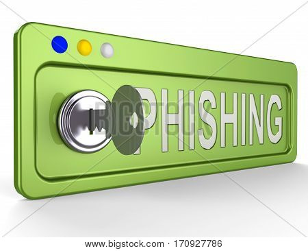 Phishing Lock Represents Theft Hackers 3D Illustration