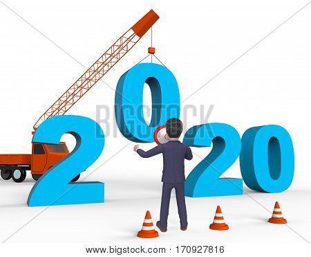 Two Thousand Twenty Indicating 2020 3D Rendering
