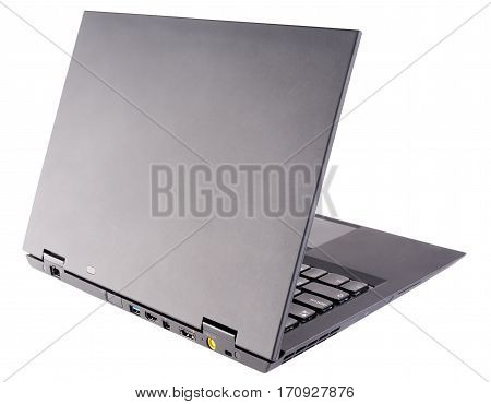 Notebook (laptop) with open cover rear view isolated on the white background