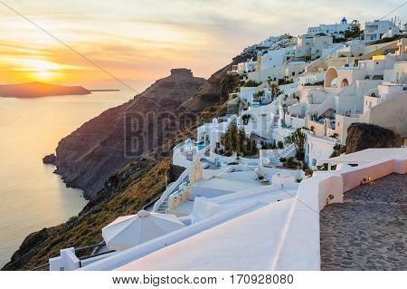 Luxury decks and patios of Oia at sunset, Santorini, Greece