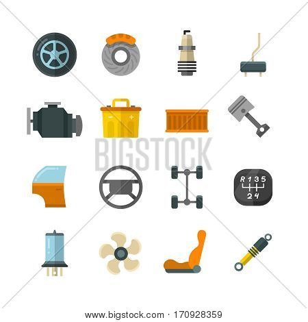 Vehicle auto technology, car parts flat vector icons. Wheel and battery for car, illustration of cars filter and brake