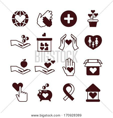 Charity hands, care and protection, fundraising service, donation, nonprofit organization, affection vector icons. Donate money and humanitarian, love and support donate illustration