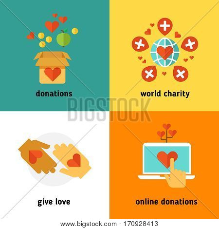 Charity and donation, social help services, volunteer work, non profit organization flat vector concepts. Online donations and world charity, giving donation in box illustration
