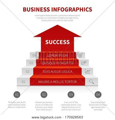 Staircase, business ladder, levels of success vector modern infographic, winning concept. Staircase to success, illustration of level stair to success business