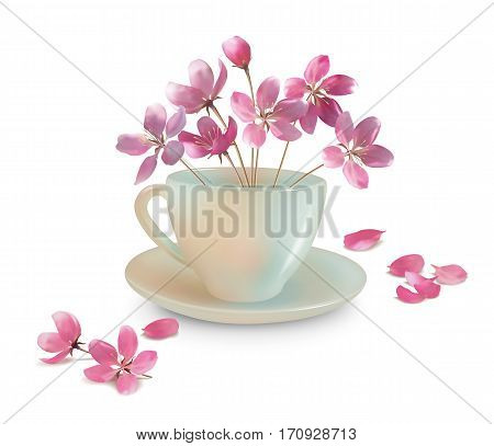 Vector spring composition with cup and beautiful realistic pink flowers