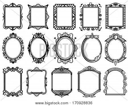 Vintage victorian, baroque, rococo frame for mirror, menu, card design vector collection. Blakc pattern frame, illustration set of frames for design