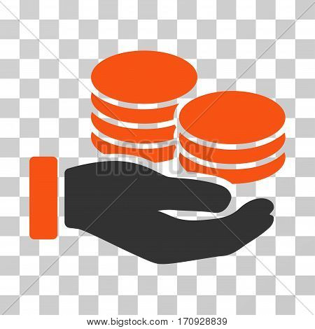 Salary Hand icon. Vector illustration style is flat iconic bicolor symbol orange and gray colors transparent background. Designed for web and software interfaces.