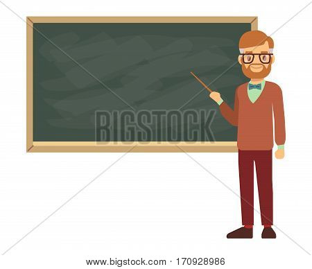 Teacher, professor standing in front of blank school blackboard vector illustration. School teacher in glasses, male teacher near blackboard