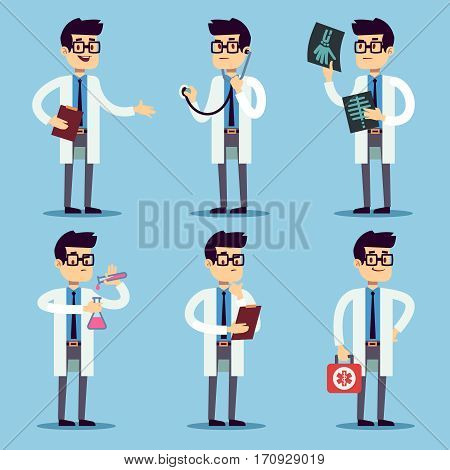 Doctor, chemist, pharmacist, surgeon man cartoon characters vector set. Doctor with stethoscope and X-ray, dentist doctor in white illustration