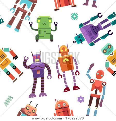 Kids toy robot, humanoid, spaceman, cyborg vector. Seamless pattern with color toy robot, illustration of robotic machine toys