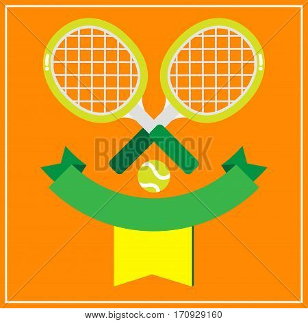 2 tennis racquets with the green tennis ball decorated with green banner on brown background.