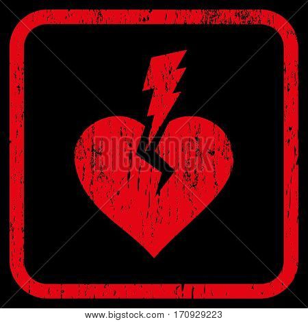 Love Heart Crash rubber watermark. Vector icon symbol inside rounded rectangular frame with grunge design and unclean texture. Stamp seal illustration. Unclean red ink emblem on a black background.