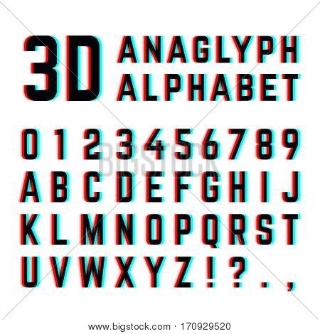 Tv distortion 3D effect stereoscopic, anaglyph alphabet and numbers. English alphabet with distortion, illustration of design alphabet with diffuse effect