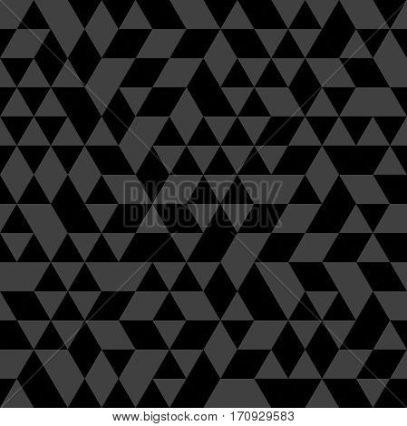 Geometric pattern with black and gray triangles. Seamless abstract background