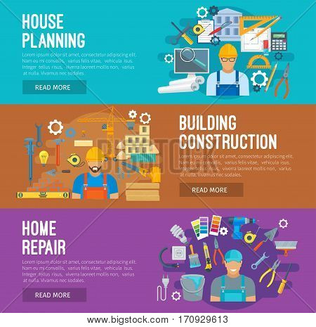 Building construction, home repair and house planning banner set. Architect with project, foreman on construction site and repairman with tools. Building industry themes design