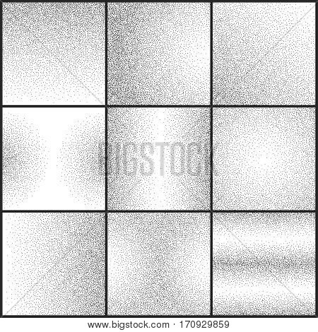 Subtle grunge dotted gritty textures vector set. Rough dirty sand texture, illustration of black white abstract sand design