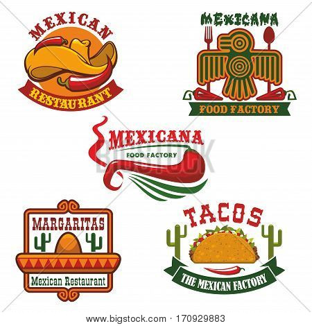 Mexican food restaurant emblem set. Mexican cuisine traditional meat and vegetable tacos, hot red chilli pepper with sombrero hat and ribbon banner. Mexican restaurant, cafe and bar logo design