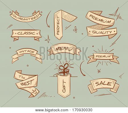 Doodle retro ribbon banners with hand drawn retail selling messages vector collection. Ribbon banner with text menu, sale and premium quality, illustration of riibbons for badge