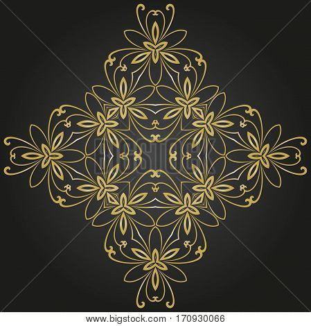 Oriental pattern with arabesques and floral elements. Traditional classic ornament. Black and golden pattern