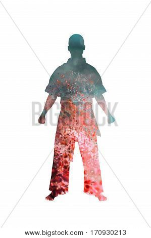 Warrior, fighter standing on white background, Double Exposure