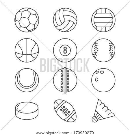 Sports balls vector thin line icons. Basketball and soccer, tennis and football, baseball or bowling, golf and volleyball balls illustration