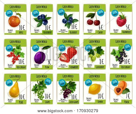 Fruit and berry price tag set. Apple, cherry, strawberry, grape and plum, peach and lemon, raspberry and currant, blackberry, gooseberry and blueberry labels for organic shop, fruit market design