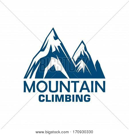 Mountain climbing adventure and camping expedition badge. Snowy mountains blue silhouette symbol for sport club emblem design