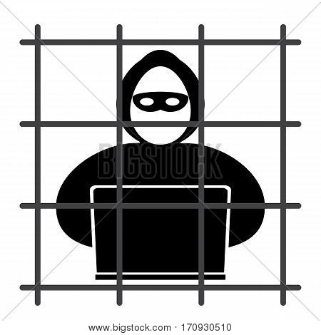 Hacker icon sits in jail on a white background
