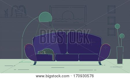 Living room witha a cat vector illustration navy palette