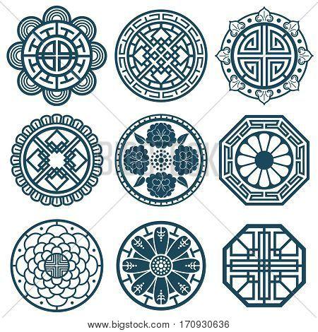 Traditional korean symbols, vector korea pattern design for bathroom repeat tiles. Traditional korean pattern illustration